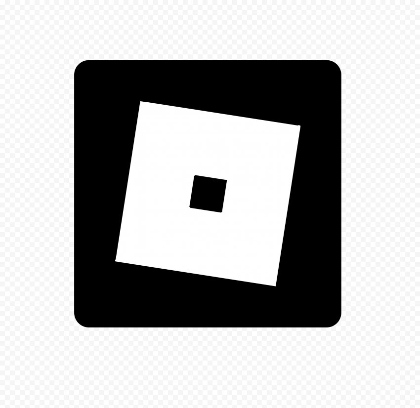 HD Roblox Square Black & White Symbol Sign Icon Logo PNG
