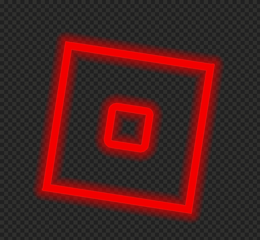 HD Neon Roblox Red Square Symbol Sign Icon Logo PNG