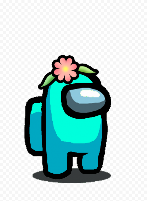 HD Cyan Among Us Character With Flower Hat PNG