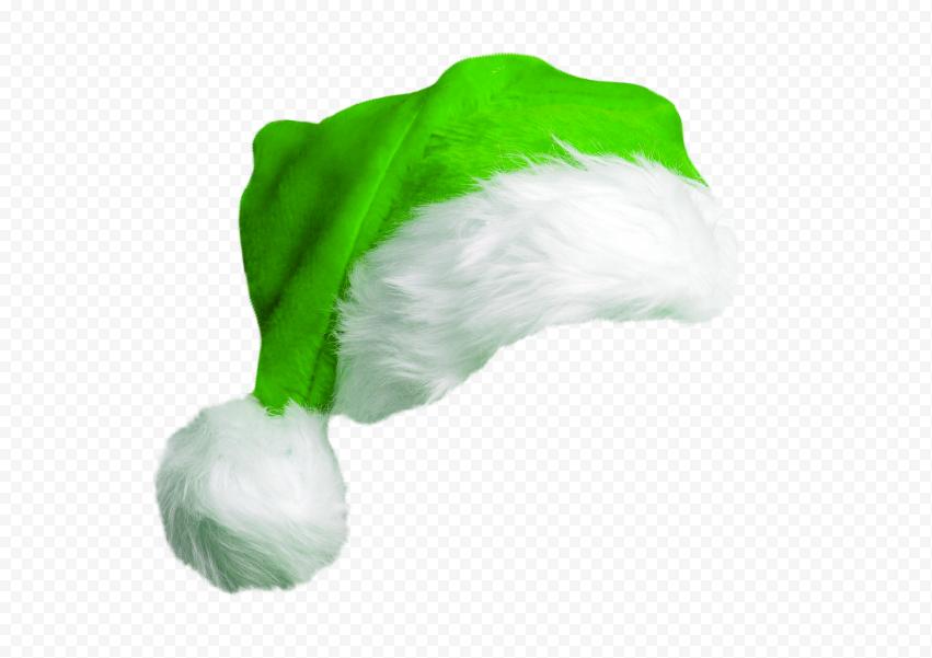 HD Cute Real Green Christmas Santa Claus Hat PNG