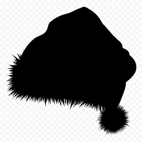 HD Christmas Black Silhouette Santa Claus Hat Bonnet Illustration PNG