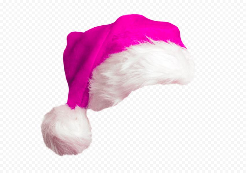 HD Cute Real Pink Christmas Santa Claus Hat PNG