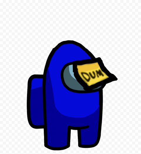 HD Blue Among Us Crewmate Character With Dum Sticky Note Hat PNG