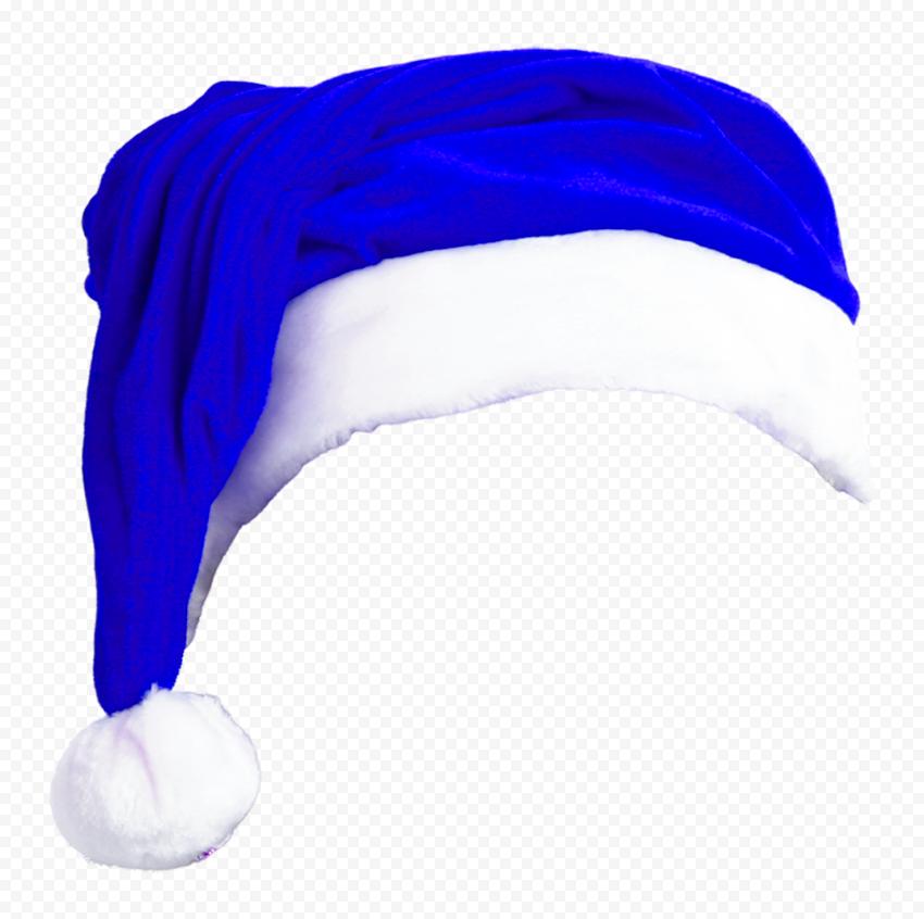 HD Blue Christmas Real Santa Claus Hat Bonnet PNG