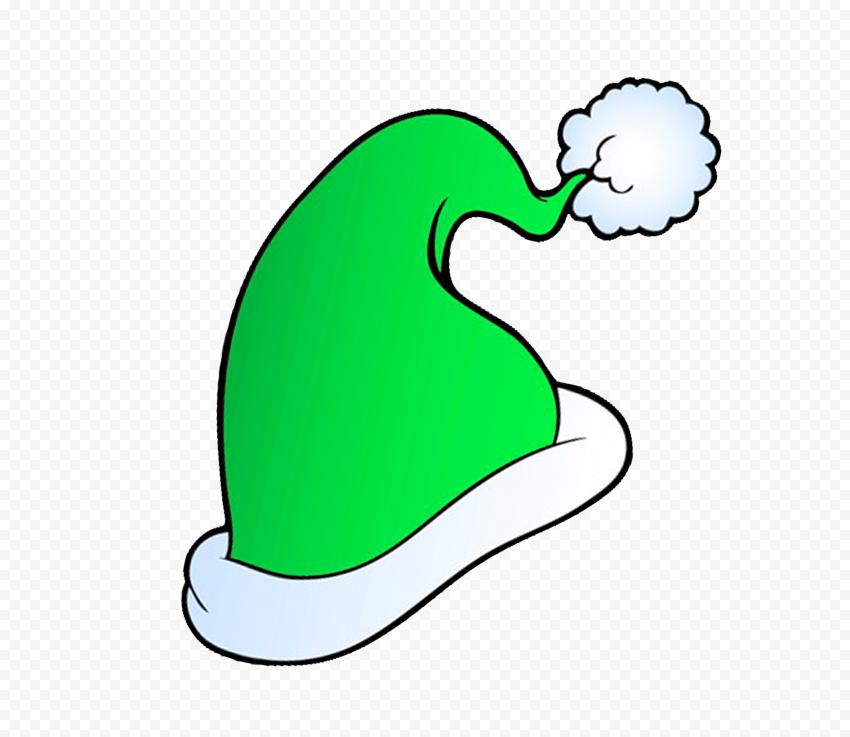 HD Cute Green Christmas Santa Hat Cartoon Clipart PNG