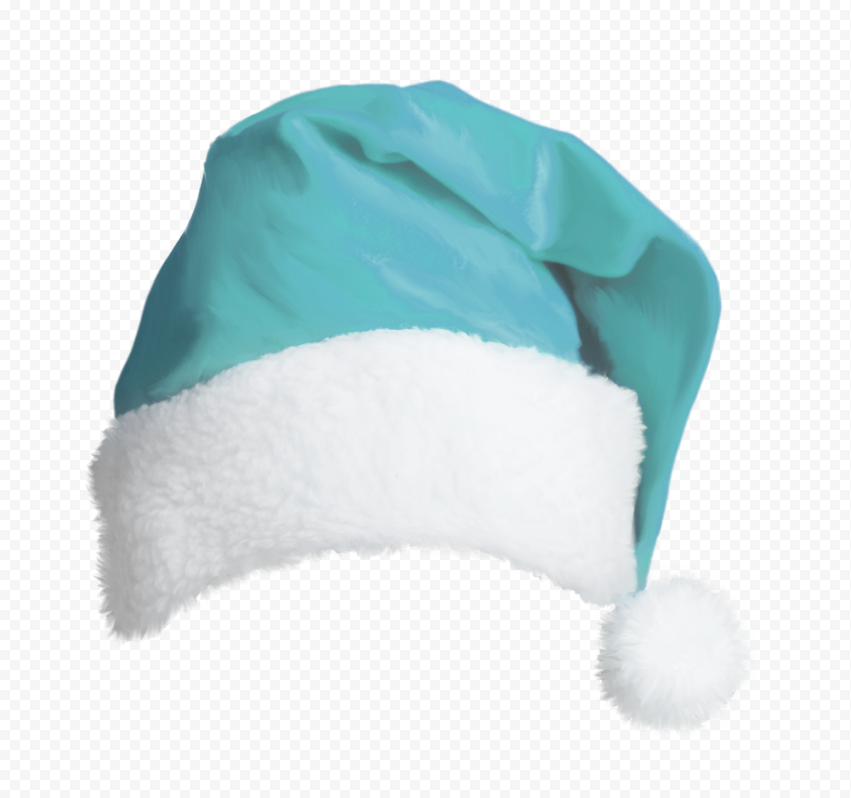 HD Turquoise Blue Real Christmas Santa Hat PNG