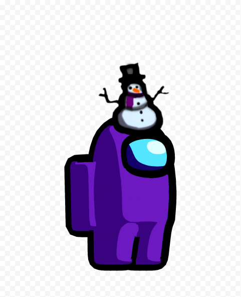 HD Purple Among Us Crewmate Character With Snowman Hat PNG
