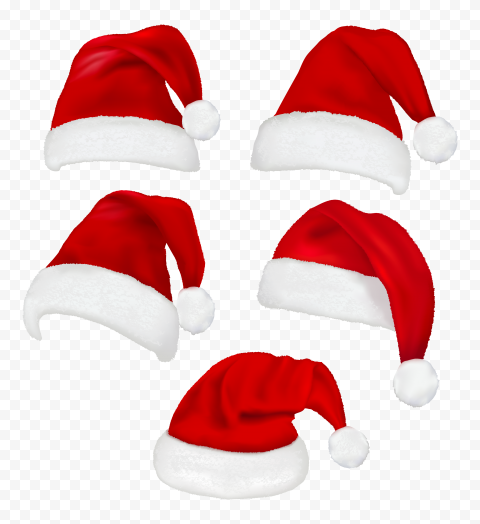 HD Set Of Real Santa Christmas Red Hats PNG