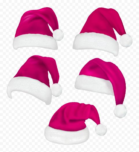 HD Set Of Real Santa Christmas Pink Hats PNG
