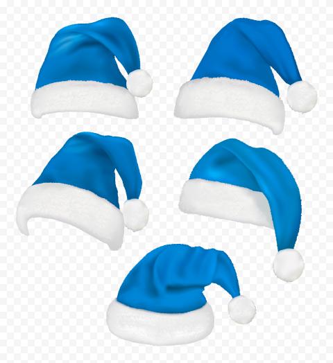 HD Set Of Real Santa Christmas Blue Hats PNG