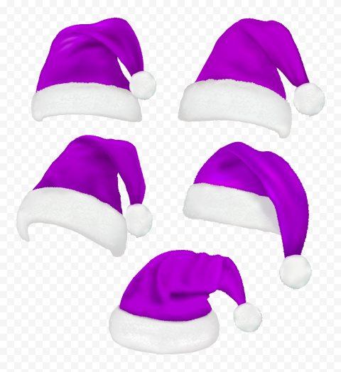 HD Set Of Real Santa Christmas Purple Hats PNG