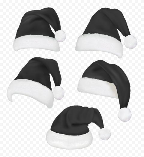 HD Set Of Real Santa Christmas Black Hats PNG