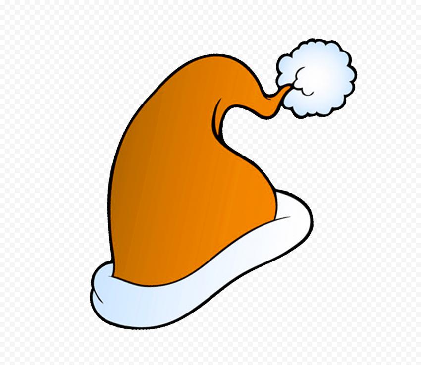 HD Cute Orange Christmas Santa Hat Cartoon Clipart PNG