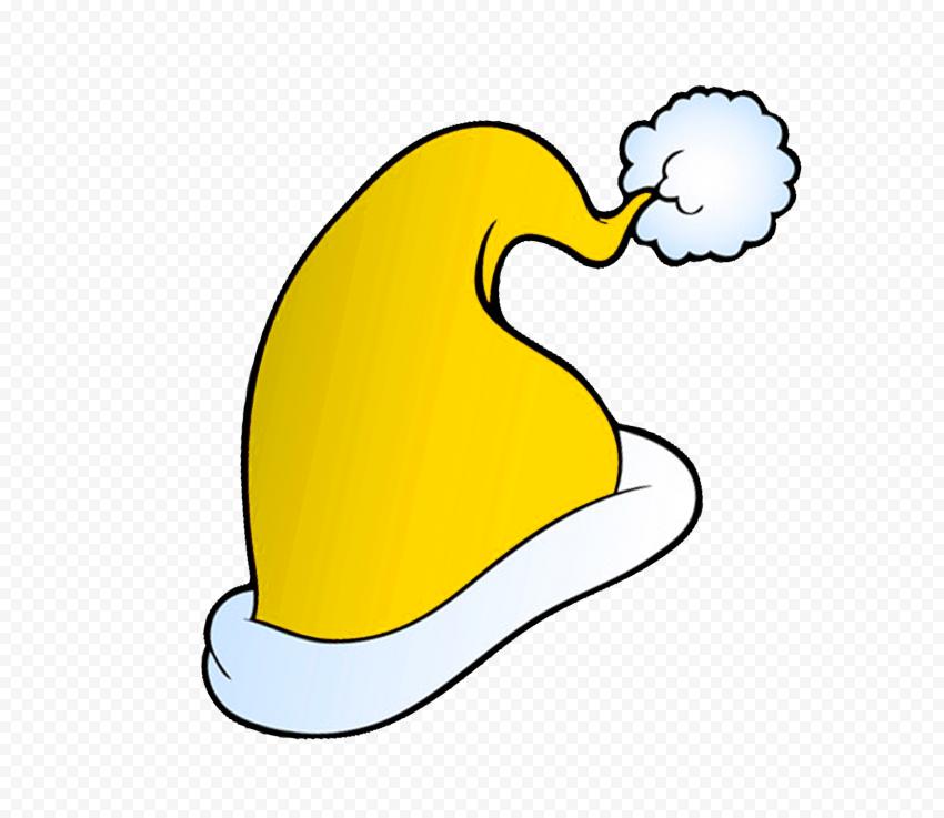 HD Cute Yellow Christmas Santa Hat Cartoon Clipart PNG
