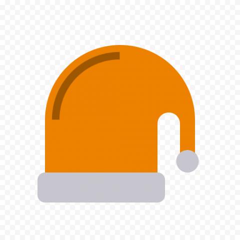 Flat Orange Christmas Santa Hat Vector Icon PNG