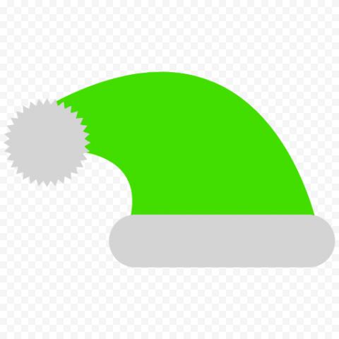 HD Flat Green Christmas Santa Claus Hat Vector Icon PNG