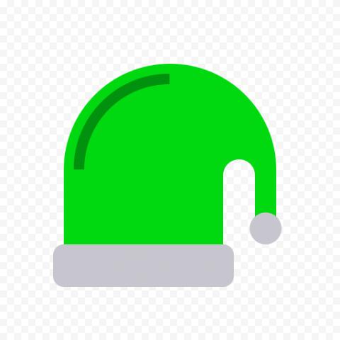 Flat Green Christmas Santa Hat Vector Icon PNG