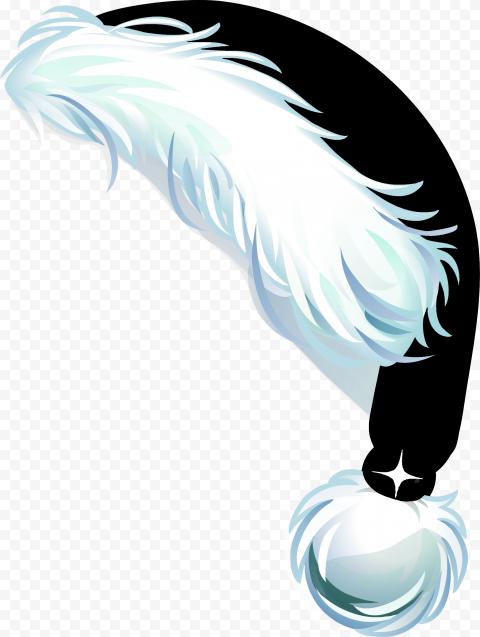 HD Beautiful Black Christmas Santa Claus Hat Cartoon Illustration PNG