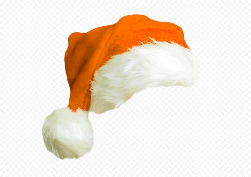 HD Cute Real Orange Christmas Santa Claus Hat PNG