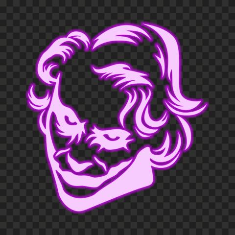 HD Joker Purple Face Neon Silhouette PNG