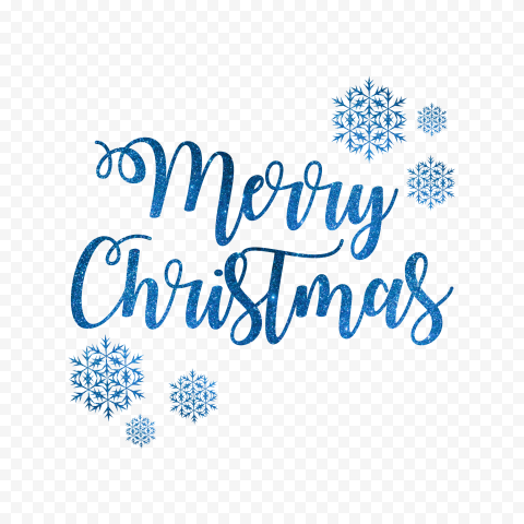 HD Blue Glitter Merry Christmas Text Logo With Snowflakes PNG
