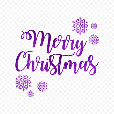 HD Purple Glitter Merry Christmas Text Logo With Snowflakes PNG