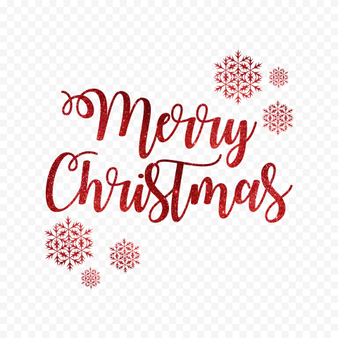 HD Red Glitter Merry Christmas Text Logo With Snowflakes PNG