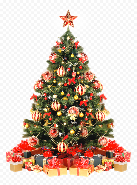 HD Real Christmas Decorated Tree With Gifts PNG