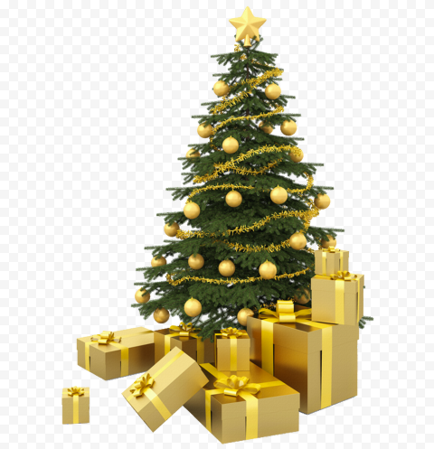 HD Real Christmas Tree With Gifts PNG