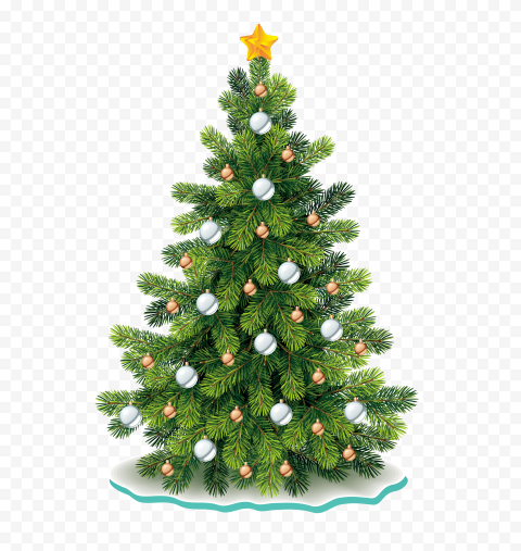 HD Beautiful Cute Christmas Tree Illustration Decorated PNG