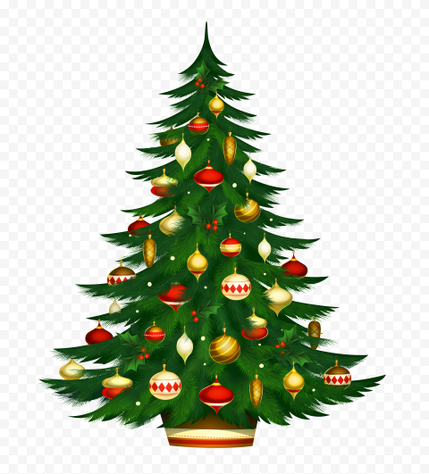 HD Beautiful Cool Christmas Tree Decorated Illustration PNG