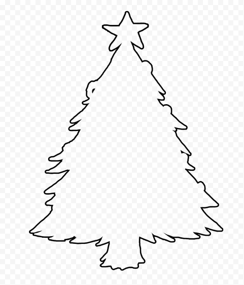 HD Black Outline Christmas Tree Clipart Silhouette PNG