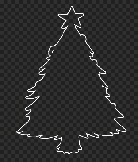 HD White Outline Christmas Tree Clipart Silhouette PNG