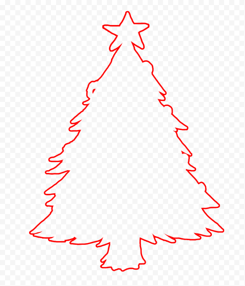 HD Red Outline Christmas Tree Clipart Silhouette PNG