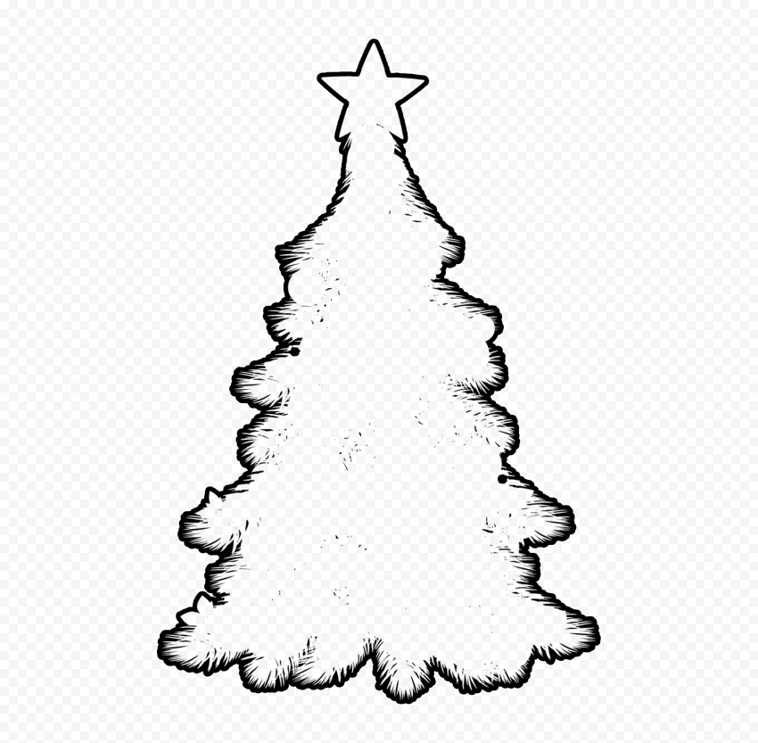 HD Black Outline Decorated Christmas Tree Clipart Silhouette Shape PNG