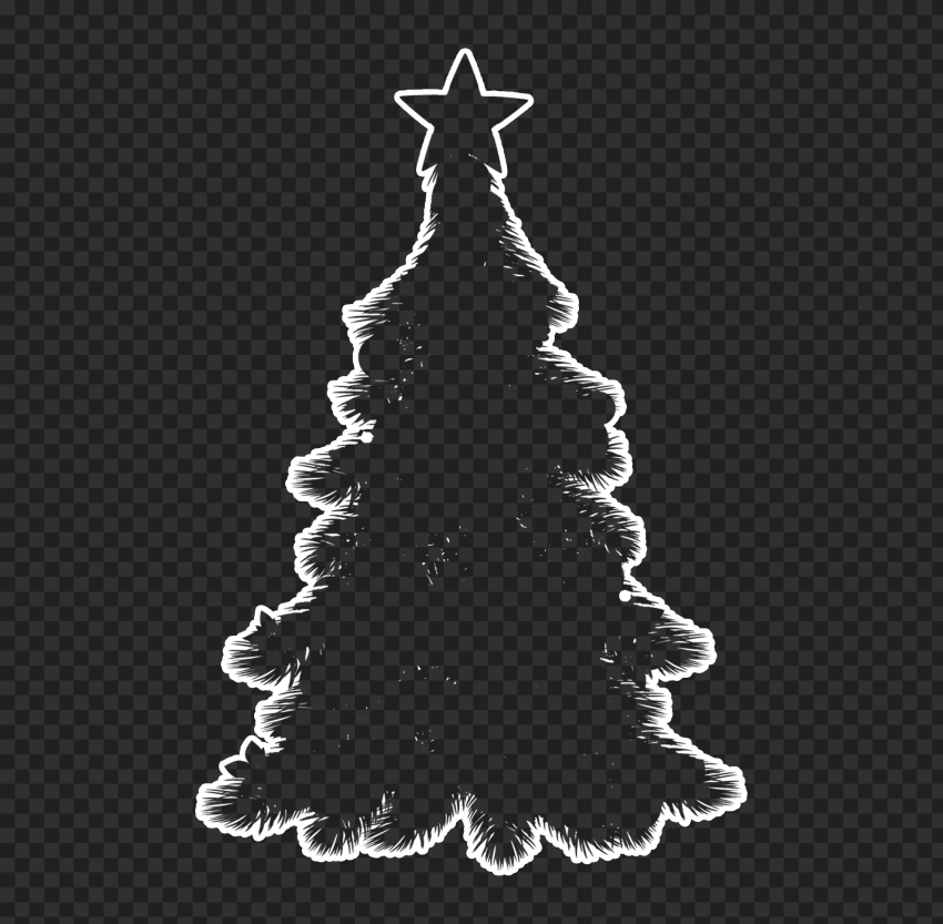 HD White Outline Decorated Christmas Tree Clipart Silhouette Shape PNG