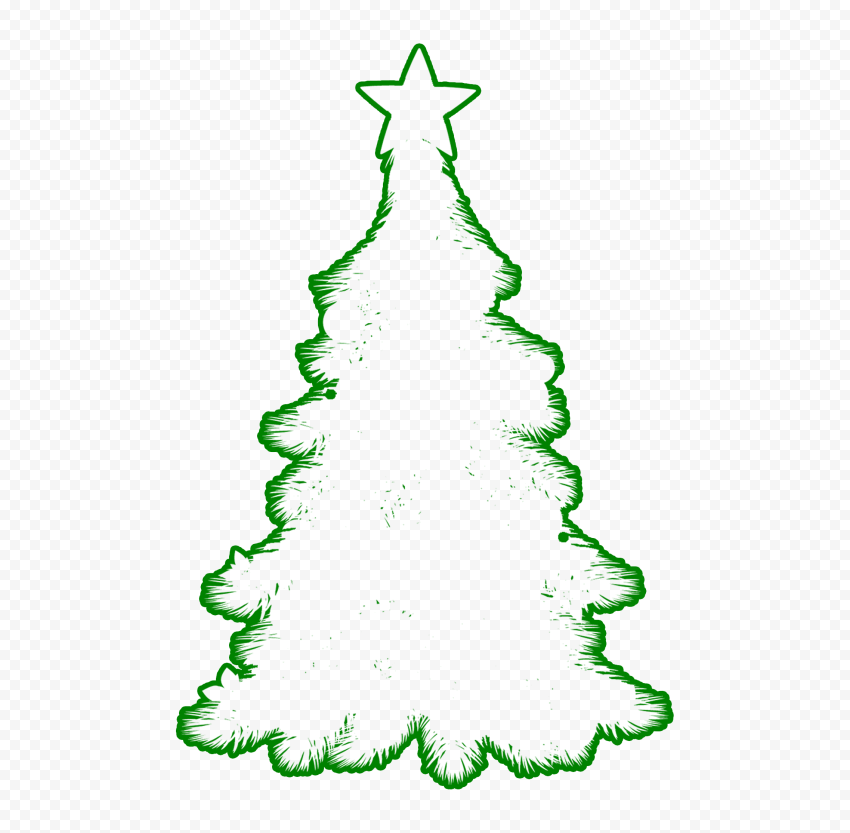 HD Green Outline Decorated Christmas Tree Clipart Silhouette Shape PNG