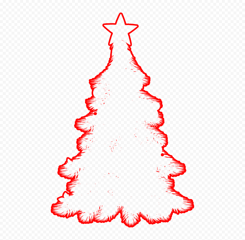 HD Red Outline Decorated Christmas Tree Clipart Silhouette Shape PNG