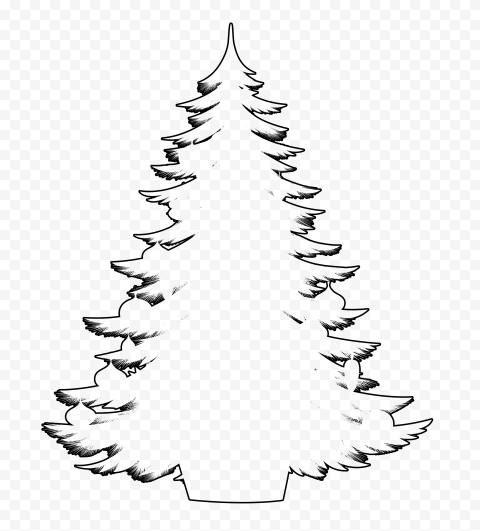 HD Decorated Christmas Tree Outline Black Silhouette PNG
