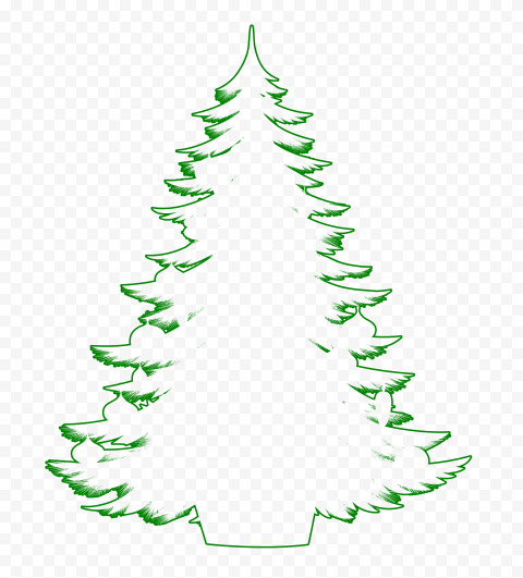 HD Decorated Christmas Tree Outline Green Silhouette PNG