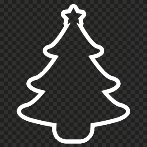 HD Simple Outline Christmas Tree White Silhouette Icon PNG