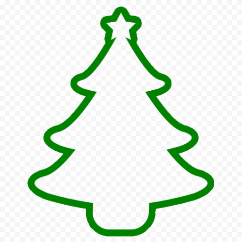 HD Simple Outline Christmas Tree Green Silhouette Icon PNG