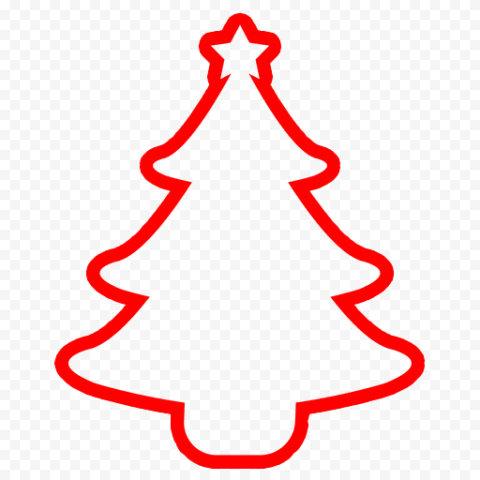 HD Simple Outline Christmas Tree Red Silhouette Icon PNG