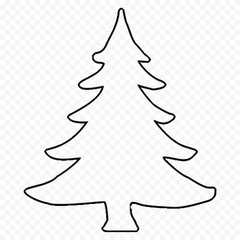 HD Simple Black Outline Christmas Tree PNG