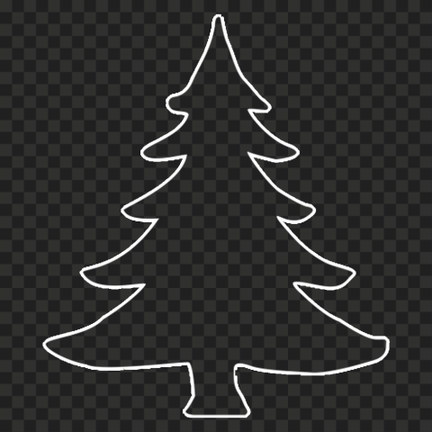 HD Simple White Outline Christmas Tree PNG