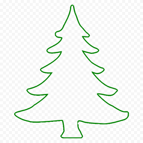 HD Simple Green Outline Christmas Tree PNG