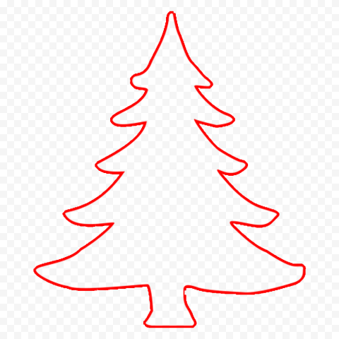 HD Simple Red Outline Christmas Tree PNG