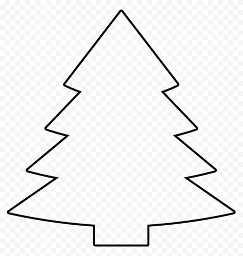 HD Black Outline Christmas Tree Clipart PNG