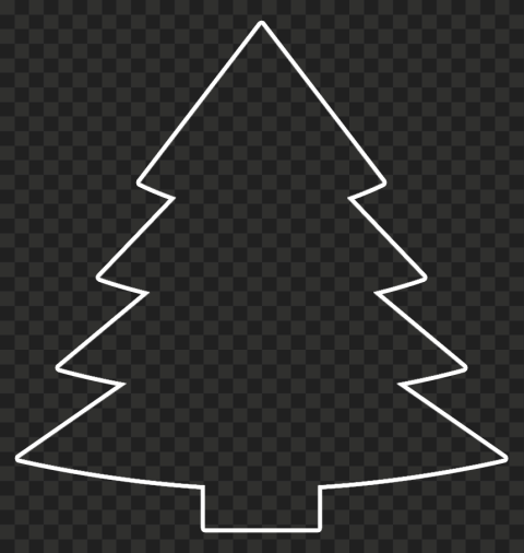 HD White Outline Christmas Tree Clipart PNG