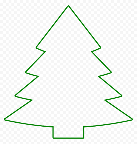 HD Green Outline Christmas Tree Clipart PNG